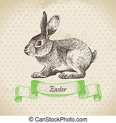 rabbit., pascua, ilustración, plano de fondo, vendimia, mano...