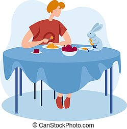 Rabbit pet at people girl home, vector illustration. Young woman character have dinner, cute animal at table. Happy house lifestyle design,