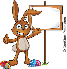 Rabbit Presenting A Wooden Sign