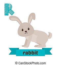 Rabbit. R letter. Cute children animal alphabet in vector. Funny cartoon animals