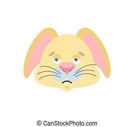 Rabbit sad emoji. Hare sorrowful emotions. Animal dull....