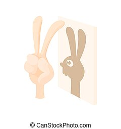 Rabbit, shadow puppet icon, cartoon style