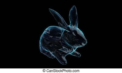 Rabbit shiny wire-frame polygonal line model. Bunny in motion, lines and points connected to 3d form.