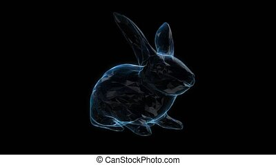 Rabbit shiny wire-frame polygonal line model. Bunny in motion, lines and points connected to form.