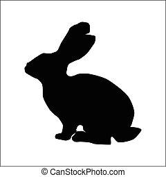 Rabbit silhouette, black animal image isolated on white