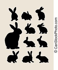 Rabbit Silhouettes, art vector design