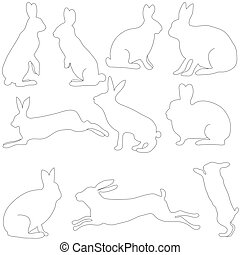 rabbit silhouettes on the white background, vector illustration.
