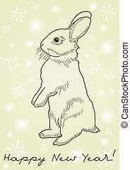 rabbit standing on hind legs - Monochrome image of a rabbit...
