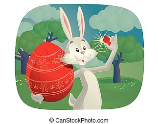 Rabbit Takes Selfie with Easter Egg - Vector cartoon of...