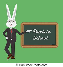Rabbit teacher showing with hand at blackboard. Back to school concept