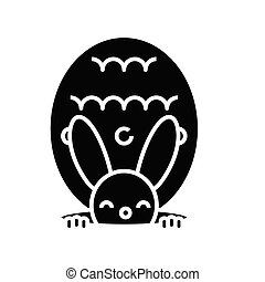 Rabbit toy black icon, concept illustration, vector flat symbol, glyph sign.