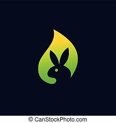 rabbit vector logo, green rabbit logo design