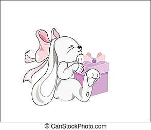 rabbit with a box - the lovely rabbit embraces the pink box,...