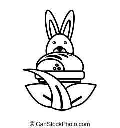 rabbit with a cupcake on white background