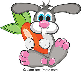 Rabbit with a giant carrot - Year of the Rabbit - A happy...