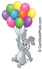 Rabbit with balloons theme image 1