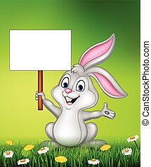 Rabbit with blank sign