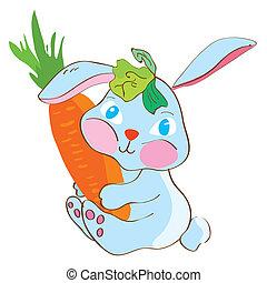 Rabbit with carrot funny cartoon