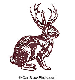 rabbit with deer antler