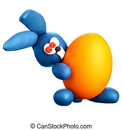 Rabbit with easter egg - Plasticine rabbit with easter egg...