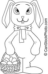 Rabbit with Easter eggs, contour