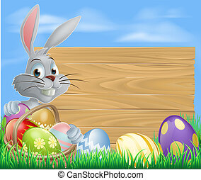 Rabbit with eggs basket and Easter - Easter bunny rabbit and...