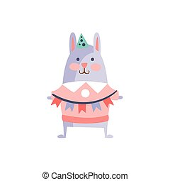 Rabbit With Party Attributes Girly Stylized Funky Sticker