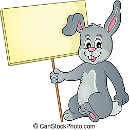 Rabbit with sign theme image 1