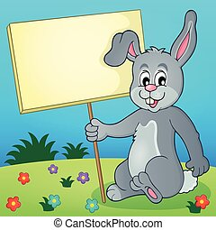 Rabbit with sign theme image 3