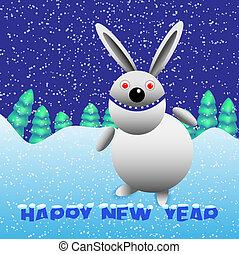 Rabbit with snow