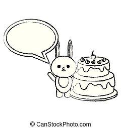 rabbit with speech bubble and cake kawaii