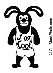 Rabbit with the human body in shirt and underpants. With text I am Cool Vector illustration for greeting card, poster, or print on clothes.