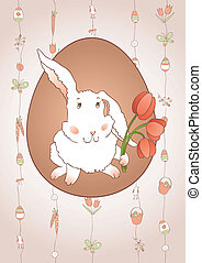 Rabbit with Tulips - Rabbit with tulips on beautiful vector...