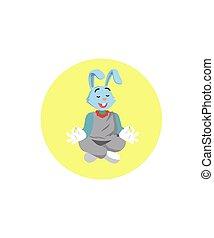 rabbit women yoga vector illustration design