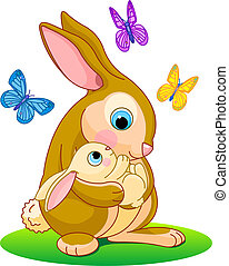 Rabbit_hood -  Cute rabbits. Mother holding her baby bunny