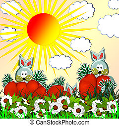 Rabbits and carrots on a background