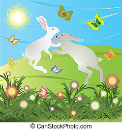 Rabbits are jumping on the meadow.
