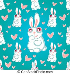 rabbits blue seamless pattern