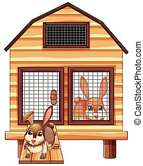 Rabbits in the wooden coop illustration