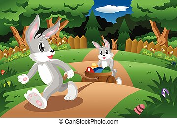 Rabbits pulling an Easter egg cart - A vector illustration...