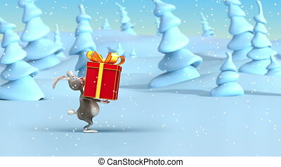 Rabbits pulling Christmas gifts. New Year's 3d animation