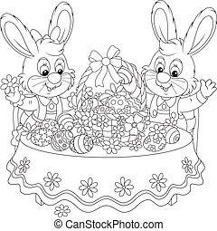 Rabbits with an Easter basket - Little Easter bunnies...