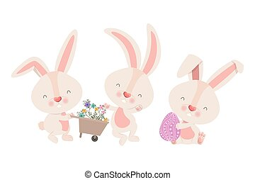 rabbits with wheelbarrow and easter egg icon