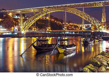 Rabelo boats on the Douro river, Porto, Portugal.