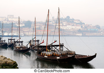 Rabelo boats - Porto, Portugal - March 31, 2012: Traditional...