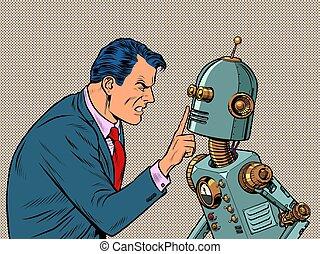 rabia, emociones, odio, hombre, fuerte, contra, robot., agresión
