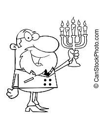 rabino, esboçado, homem