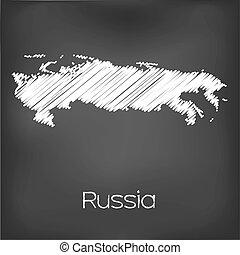 rabiscado, mapa, rússia, país