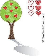 rabisco, árvore, corações, vetorial, vermelho