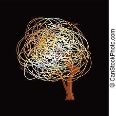 rabisco, desenho, vetorial, árvore